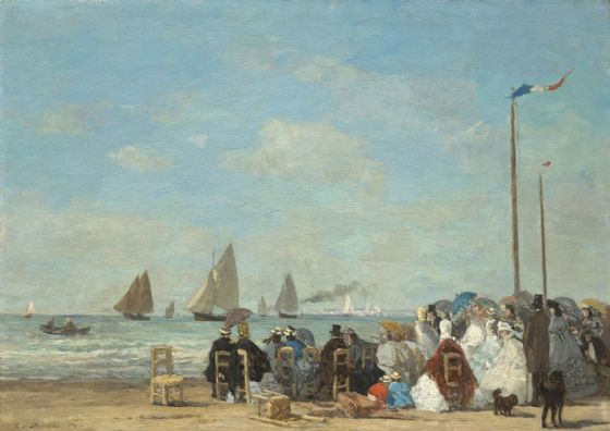 Boudin, Eugene: Beach Scene at Trouville. Fine Art Print/Poster. Sizes: A4/A3/A2/A1 (003952)